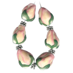 9x11mm Sculpted Polymer Pink TULIP/ROSEBUD Beads