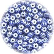11/o Czech SEED BEADS - Striped, Blue on White