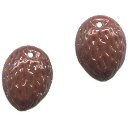 9x12mm Opaque Brown Pressed Glass Nut / ALMOND Charm Beads