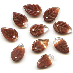 7x12mm Crystal & Milk Chocolate Satin Givre Pressed Glass LEAF Beads