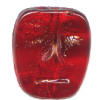 11x13mm Transparent Ruby Red Pressed Glass MASK Beads