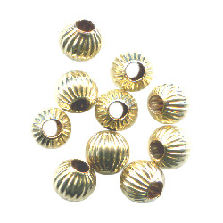 4mm 14kt Gold-Filled CORRUGATED ROUND Beads