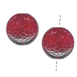18mm Translucent Red Pressed Glass Raspberry DISC Beads