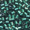 15/o HEX BEADS: Trans. Met. Teal Lined