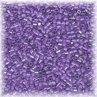 15/o HEX BEADS: Trans. Purple Lined