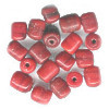 *VINTAGE* Lampwork Glass Cranberry Red TUBE Beads