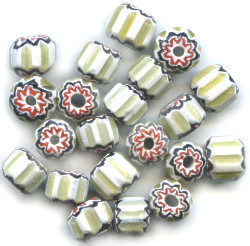 6x8mm White, Green & Red Glass Chevron CYLINDER Beads