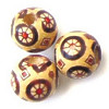 12mm Painted Wood ROUND Beads - Asian Circles