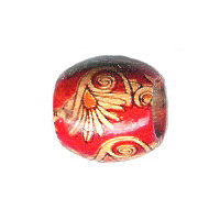 12x15mm Painted Wood BARREL Beads - Asian Red