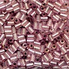 Vintage CZECH #1 (2x3mm) BUGLE BEADS: Transparent Light Rose Silver-Lined