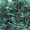 CZECH #2  (2x4mm) *Vintage* Square Hole BUGLE BEADS: Transparent Dark Teal Green S/L