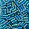 CZECH #2  (2x4mm) *Deadstock* BUGLE BEADS: Transparent Turquoise Rainbow Matte