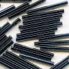 "CZECH PRECIOSA® #25  1""  (2x25mm) *Hex Cut* BUGLE BEADS: Black Luster (Gunmetal, Hematite)"