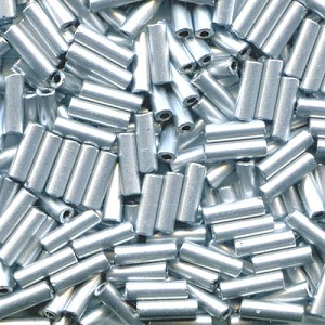 CZECH PRECIOSA® #3 (2x7mm) BUGLE BEADS - Metallic Silver Matte