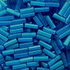 "CZECH #3 1/4"" (2x6-7mm) BUGLE BEADS: Transparent Montana Blue Satin"