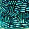 "CZECH PRECIOSA® #3 1/4"" (2x6mm) BUGLE BEADS: Transparent Teal Silver-Lined"