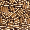 CZECH PRECIOSA® #3 (2x7mm) BUGLE BEADS: Gold Metallic Matte #0171