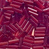 CZECH #3 (2x7mm) *Hex Cut* BUGLE BEADS: Transparent Dark Red Satin (Matte)