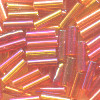CZECH #3 (2x6mm) BUGLE BEADS: Transparent Dark Orange AB