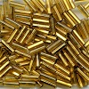 Vintage CZECH #3 (2x7mm) *Square Hole* BUGLE BEADS: Transparent Gold Silver-Lined