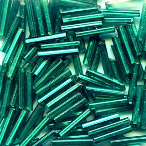 CZECH #5 (2x11mm) *Vintage* Square Hole BUGLE BEADS: Transparent Dark Teal Green S/L