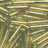 MILL HILL® #G82011 (Japanese) 1.9x9mm BUGLE BEADS: Transparent Victorian Gold Silver-Lined