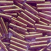 MILL HILL® #G82053 (Japanese) 1.9x9mm BUGLE BEADS: Transparent Mauve, Gold Luster (Mauve / Purple Nutmeg)