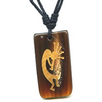 16x32mm Embossed Horn KOKOPELLI Pendant/Focal Bead - with Cord