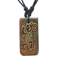 15x35mm Embossed Horn PETROGLYPH LIZARD Pendant/Focal Bead - with Cord