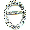 "2"" x 2-1/2"" Silver Plated Brass Sunburst BOLO SLIDE Component - 30x40mm Oval Bezel Setting"