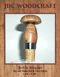Big Leaf Maple Burl & Claro Walnut Classic Cork Wine Bottle Stopper ~ JBC Woodcraft®