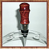 Red-Dyed Maple Burl Chrome Finish Wine Bottle Stopper ~ JBC Woodcraft®