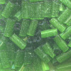 "1/16"" x 3/16"" (4mm) BUGLE BEADS: Trans. Green Satin"