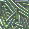 "1/16"" x 3/8"" (9mm) BUGLE BEADS: Transl. Willow Green, Gold Luster"