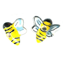 20x20mm Hand Painted Ceramic BUMBLE BEE Bead