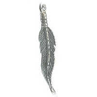 "6x28mm (1-1/8"") Silvertone Cast Pewter Medium Feather Charm"