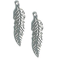 "7x26mm (1-1/16"") Silvertone Stamped Metal Feather Charms"