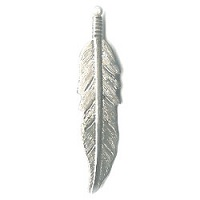 "13x55mm (2-1/8"") Silvertone Stamped Metal Feather Charm / Pendant"