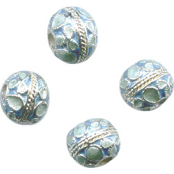 10mm Light Blue & Silver Cloisonne ROUND Beads