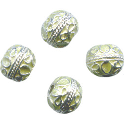 10mm Mint Green & Silver Cloisonne ROUND Beads