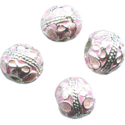 10mm Light Pink & Silver Cloisonne ROUND Beads