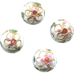 10mm White w/ Pink Floral Cloisonne ROUND Beads