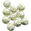 6mm Light Green & Silver Cloisonne ROUND Beads