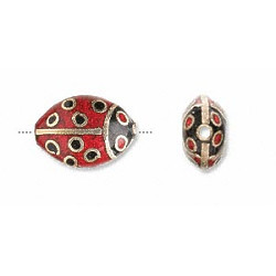 12x16mm Gold & Red Cloisonne LADY BUG Beads
