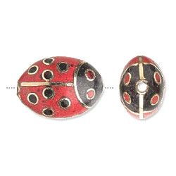 15x22mm Gold & Red Cloisonne LADY BUG Beads
