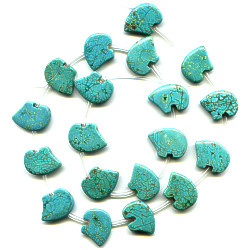 12x15mm Stabilized Blue Chinese Turquoise Zuni BEAR Beads
