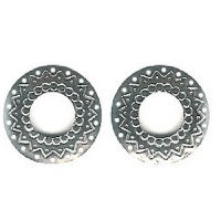 34mm Nickel-Plated Brass, 18-Hole Round Hoop, Western Style EARRING CONCHOS