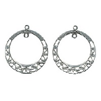 28mm Antiqued Silvertone Filigree EARRING HOOP / CHANDELIER Components, Center Loop