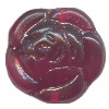 16mm Transparent Ruby Red Pressed Glass Sculpted Rose DISC Beads