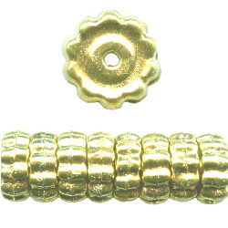 4x11mm Goldtone Hollow Brass Corrugated Flat DISC Beads
